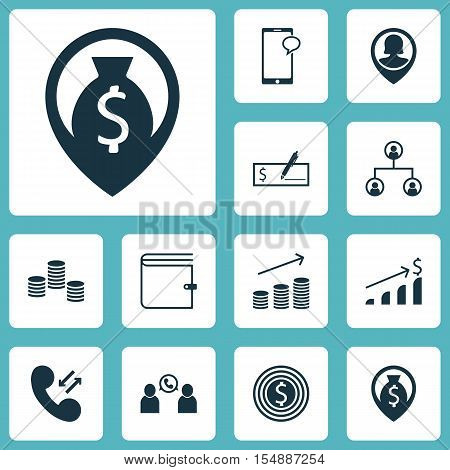 Set Of Management Icons On Cellular Data, Business Goal And Money Topics. Editable Vector Illustrati