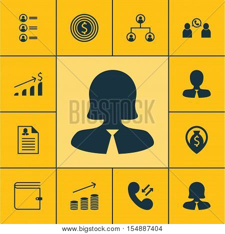 Set Of Management Icons On Wallet, Cellular Data And Tree Structure Topics. Editable Vector Illustra