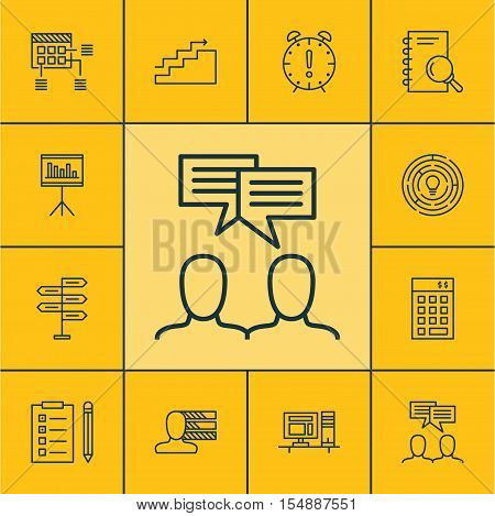 Set Of Project Management Icons On Time Management, Opportunity And Innovation Topics. Editable Vect