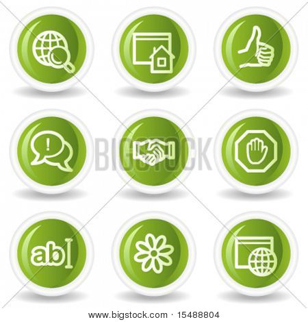 Internet web icons set 1, green circle buttons