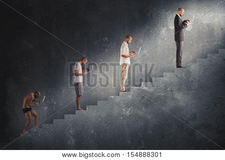 Evolution from hunched man to successful man in a staircase