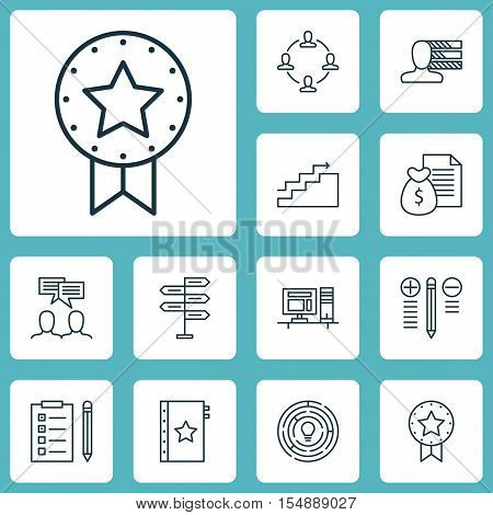 Set Of Project Management Icons On Warranty, Collaboration And Discussion Topics. Editable Vector Il