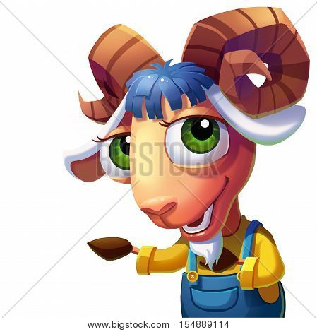 The Sheep with Convoluted Horns Welcome You! Video Game's Digital CG Artwork, Concept Illustration, Realistic Cartoon Style Background and Character Design