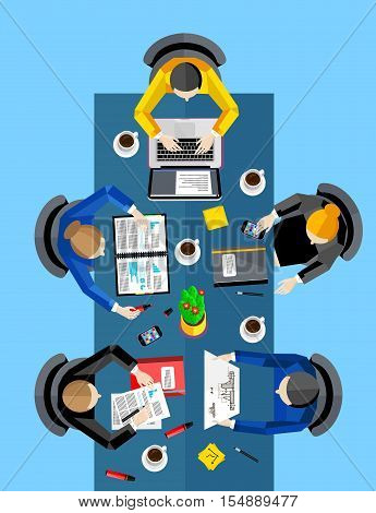 Business concept. Workspace background, vector illustration. Top view of group of five people working at office desk. Collaboration and partnership. Creative people, idea generation. Business meeting
