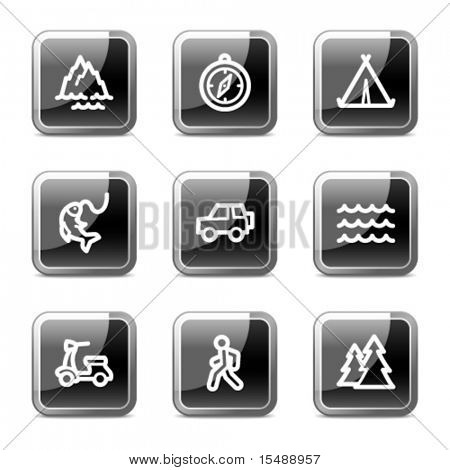Travel web icons set 3, black square glossy buttons series