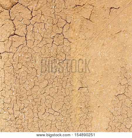 Cracked soil dry earth texture or cracked soil background. Crack soil on dry season. Top view shot of cracked soil.