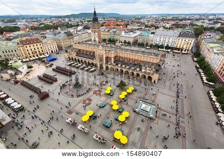 Top view of Main market square, cloth hall and town hall tower, Krakow, Poland.