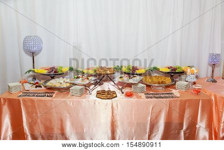 Delicious sweets on candy buffet sweet table