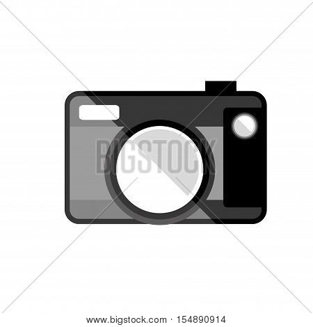 silhouette of photographic camera device icon ove white background. vector illustration