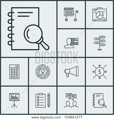 Set Of Project Management Icons On Announcement, Discussion And Opportunity Topics. Editable Vector