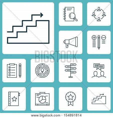 Set Of Project Management Icons On Reminder, Discussion And Decision Making Topics. Editable Vector