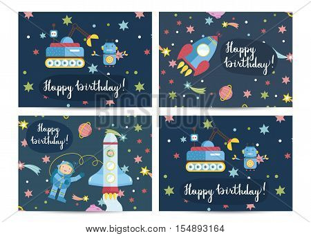Happy birthday cartoon greeting cards on space theme. Spaceship with astronauts, robot with exploration rover in starry cosmos vector illustrations set. Bright invitation on childrens costumed party