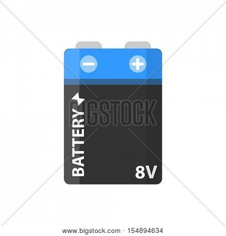 Battery flat colorful clipart isolated. Vector battery and accumulator. Isolated on white background.