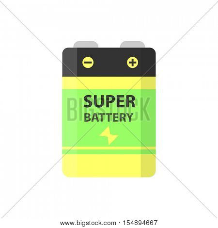 Super battery flat colorful clipart isolated. Vector battery and accumulator. Isolated on white background.