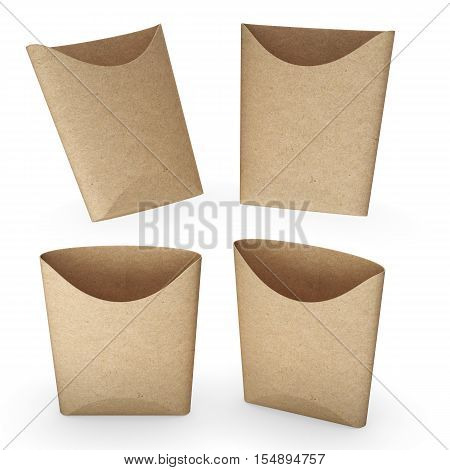 3d illustration Brown paper french fries bucket with clipping path