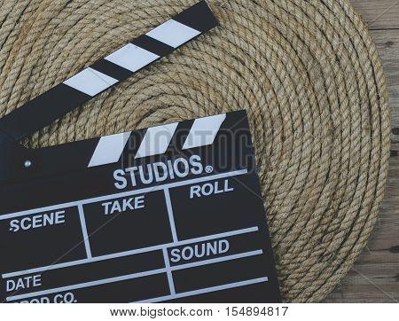 Slate film on a jute rope background