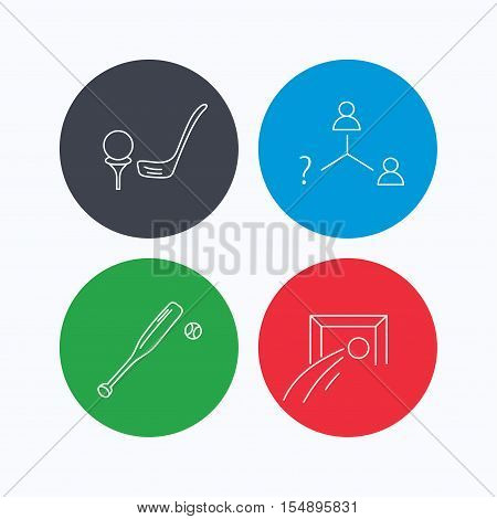 Football, golf and baseball icons. Vacancy linear sign. Linear icons on colored buttons. Flat web symbols. Vector