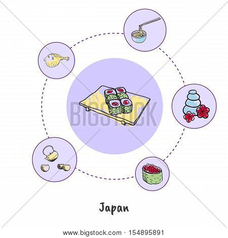 Attractive Japan. Sushi on plate colorized doodle surrounded kettle with tea, noodles, fugu fish, massage stones hand drawn vector icons. Japanese culinary, culture symbols. Travel in Asia concept