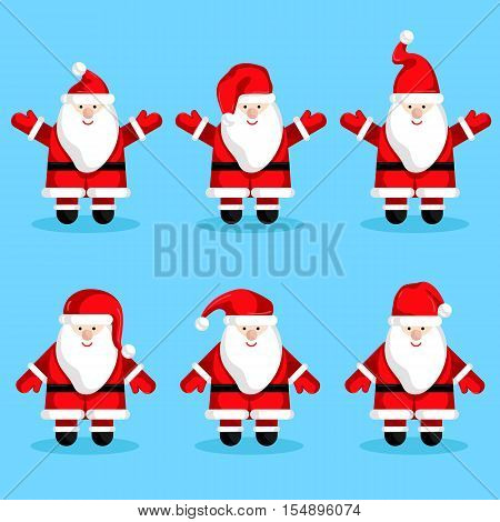 Christmas Santa Claus characters vector. Merry Christmas and Happy New Year. Funny Santa Claus. Santa Claus in various poses. Xmas santa. Santa Claus in santa hat red. Santa Claus icon. Santa Claus flat design. Santa Claus red hat. Christmas Santa Claus.