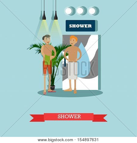 Men taking shower in fitness center vector concept poster. Male sauna in gym club illustration in flat style design. People with towels after shower.