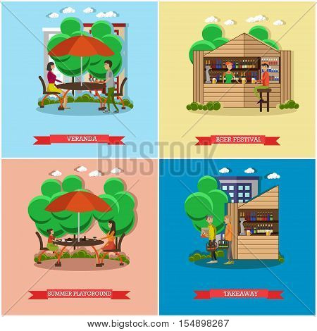 Street food concept vector posters. People sell food from stalls in park. Street cafe concept. Restaurant summer terrace under umbrella