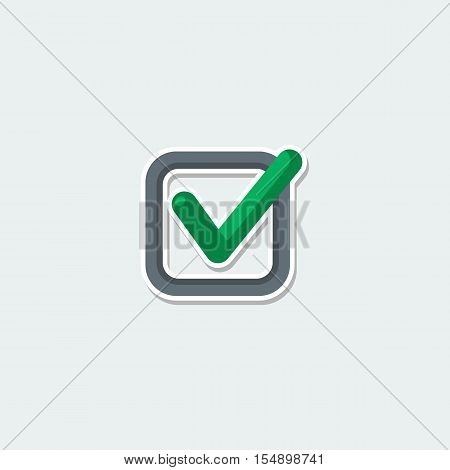Web symbol - green check mark. Square check list button colorful single icon. Basic element for web isolated on white background vector illustration in flat design.