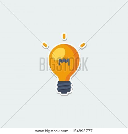 Business symbol - light bulb. Idea, inspiration innovation, invention, effective thinkin colorful single icon. Basic element for web isolated on white background vector illustration in flat design.