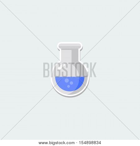 Science symbol - laboratory beaker. School education, science research, chemistry colorful single icon. Basic element for web isolated on white background vector illustration in flat design.