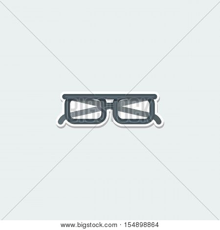 Teaching symbol - classic eye glasses. Modern accessory, spectacles, business concept colorful single icon. Basic element for web isolated on white background vector illustration in flat design.