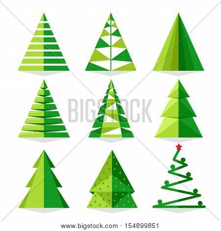 Funny Christmas tree and vector christmas tree on white background. Cartoon Christmas tree icon and Christmas tree set vector. Furry Christmas tree. Christmas tree sign. Isolated  christmas tree. Pine tree. Christmas tree vector icon. Green Christmas tree