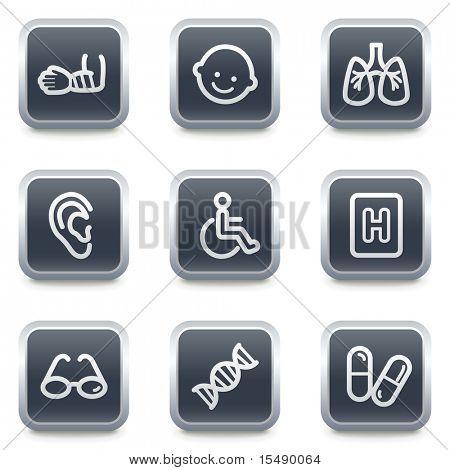 Medicine web icons set 2, grey square buttons