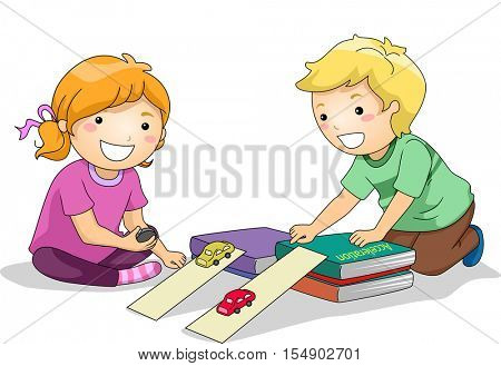 Illustration of Preschool Kids Using Toy Cars to Study the Law of Acceleration