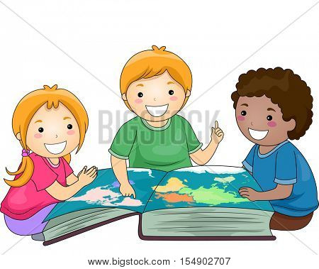 Illustration of a Diverse Group of Preschool Kids Studying Geography Together with the Help of a Giant Atlas
