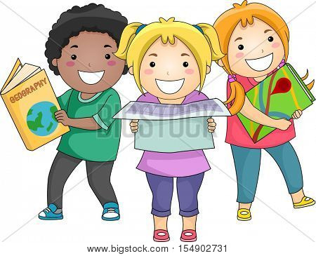 Illustration of a Diverse Group of Preschool Kids Carrying Different Geographical References