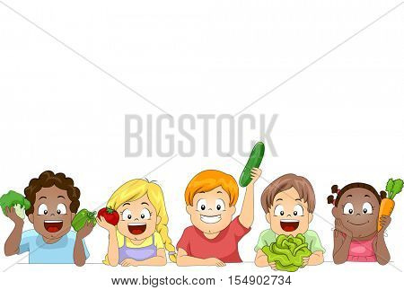 Border Illustration of a Diverse Group of Preschool Kids Presenting Different Vegetables