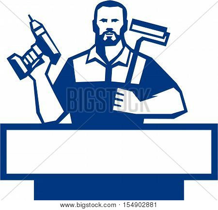 Illustration of a handyman with beard moustache facial hair holding paint roller on shoulder and cordless drill viewed from front set on isolated white background done in retro style.