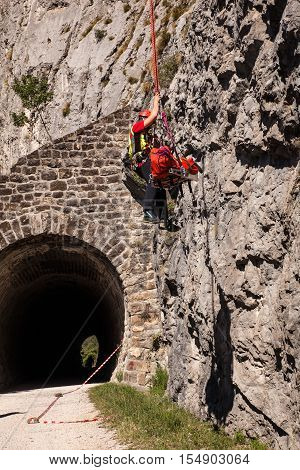 TRIESTE ITALY - SEPTEMPER 25: Rescue patrol in action during an assistance on Septemper 25 2016