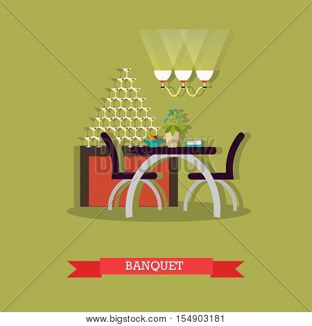 Table with chairs in restaurant - stock vector.
