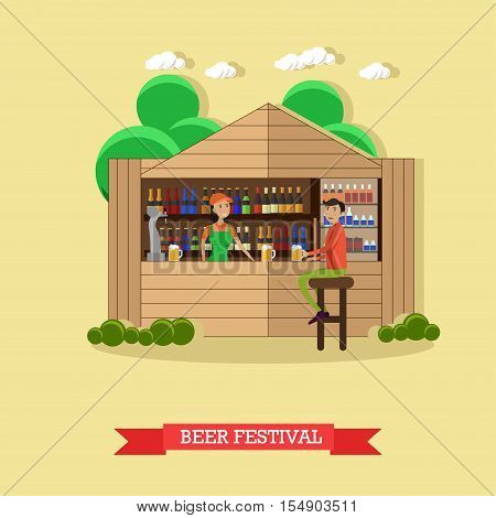 Beer festival concept vector illustration. People drink beer in outdoor restaurant. Waitress and bartender.
