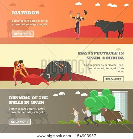 Spain Corrida and Running of the Bulls concept vector illustration. Bull and a matador.