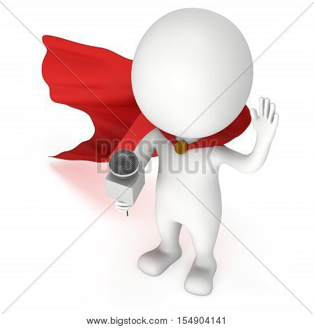 White superhero hosting show and talking into microphone set. Wave hello. 3d render illustration isolated on white background.