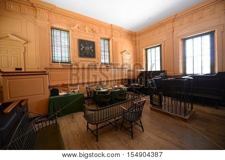 PHILADELPHIA - JUN 27, 2014: Supreme Court Room in Independence Hall in old town Philadelphia, Pennsylvania, USA. Now Independence Hall is a UNESCO World Heritage Site.