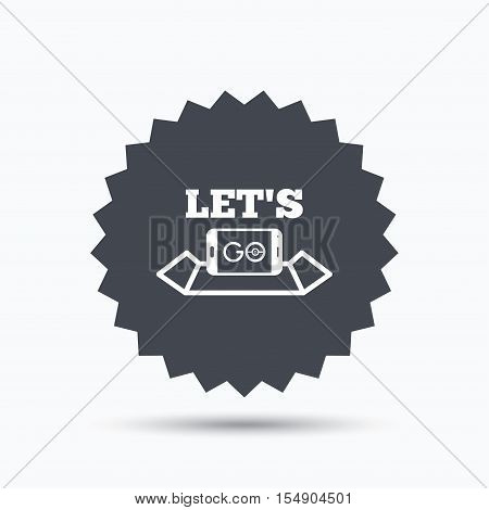 Smartphone icon. Let's Go symbol on map. Pokemon game concept. Gray star button with flat web icon. Vector
