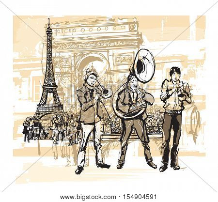Musicians in front of Eiffel tower in Paris - vector illustration