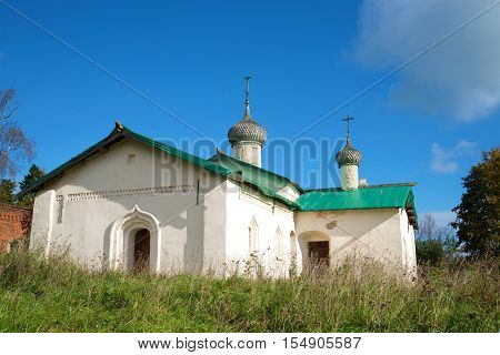 At ancient church of Basil the Great is (1686) in the sunny september day. Village Chernavino of the Leningrad region Russia