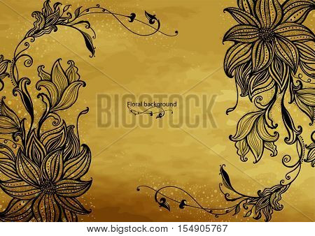 Flower frame on a gold background . Hand drawn flowers. Decorative floral ornament. Vector illustration.
