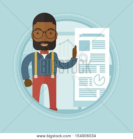 African businessman showing his business presentation. Man giving business presentation. Businessman during business presentation. Vector flat design illustration in the circle isolated on background.