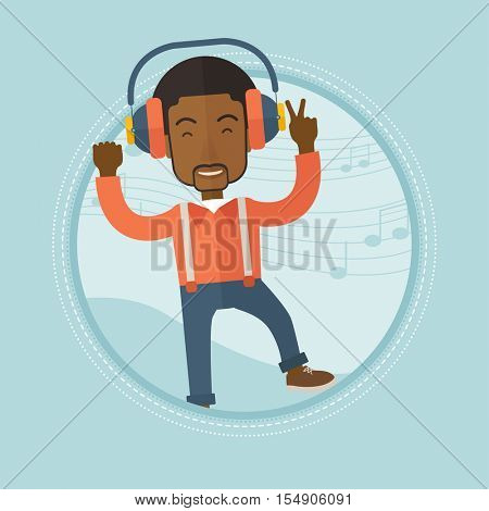 An african-american man dancing while listening to music. Man listening to music in headphones on a background with music notes. Vector flat design illustration in the circle isolated on background.