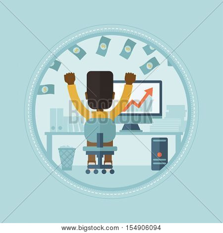 An african-american successful businessman under money rain. Successful businessman earning money online. Business success concept. Vector flat design illustration in the circle isolated on background