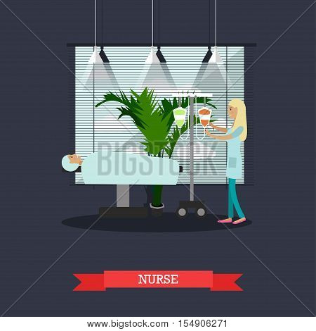 Nurse helping to patient to prepare to surgery in hospital. Vector medical concept in flat style design.